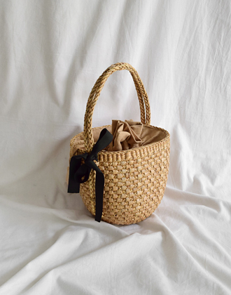 RIBBON STRAW BAG
