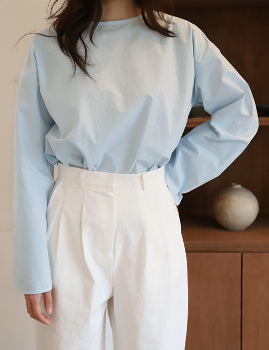 [CURVET] LONG-SLEEVE BLOUSE_OFFICE BLUE