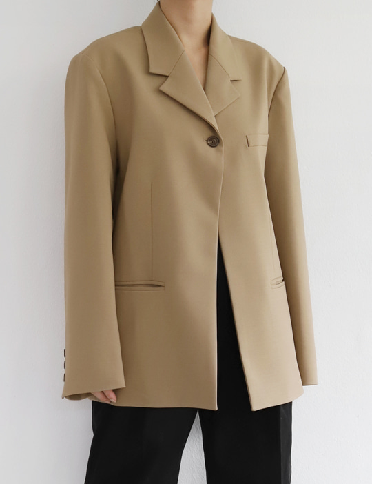 ONE-BUTTON MINIMAL JACKET (2COLOR)