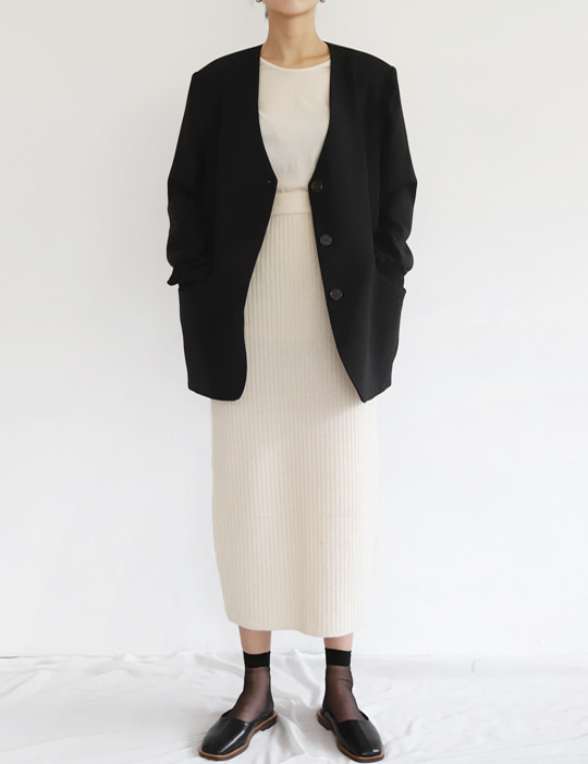 MODERN COLLARLESS JACKET (2COLOR)