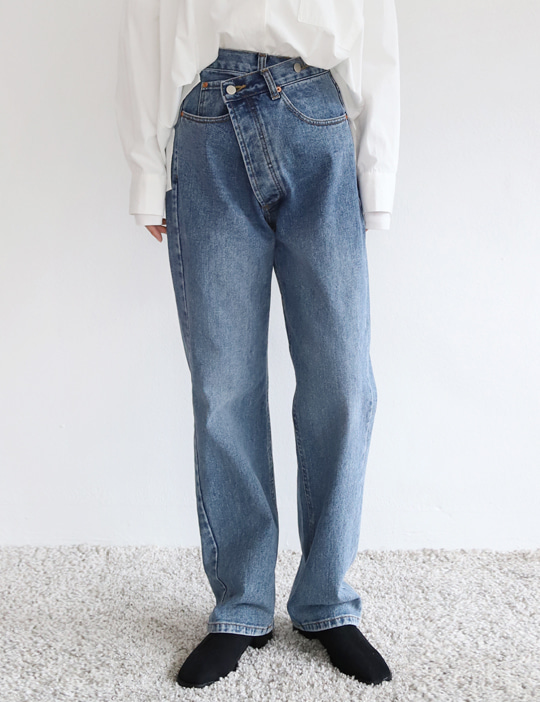 BUTTON UNBAL DENIM PANTS