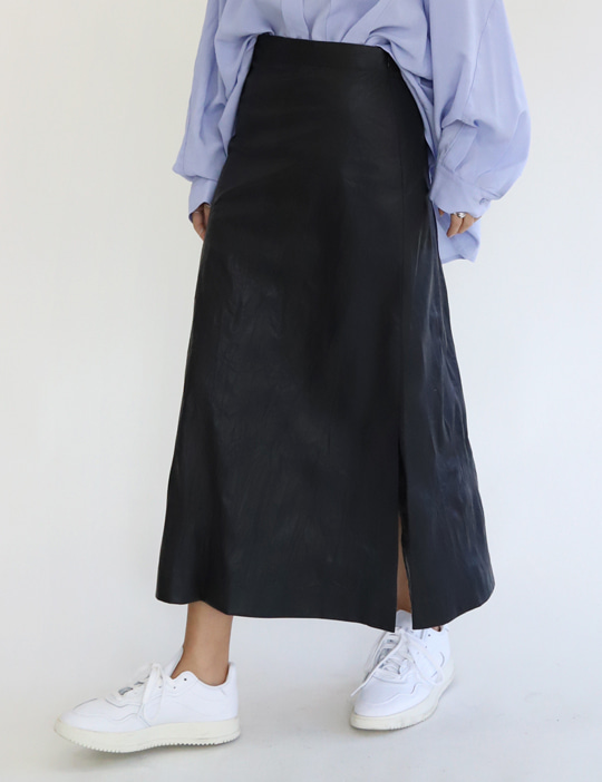 VINTAGE LEATHER A SKIRT (2COLOR)