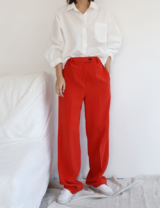 RED LOOSE SLACKS (2COLOR)