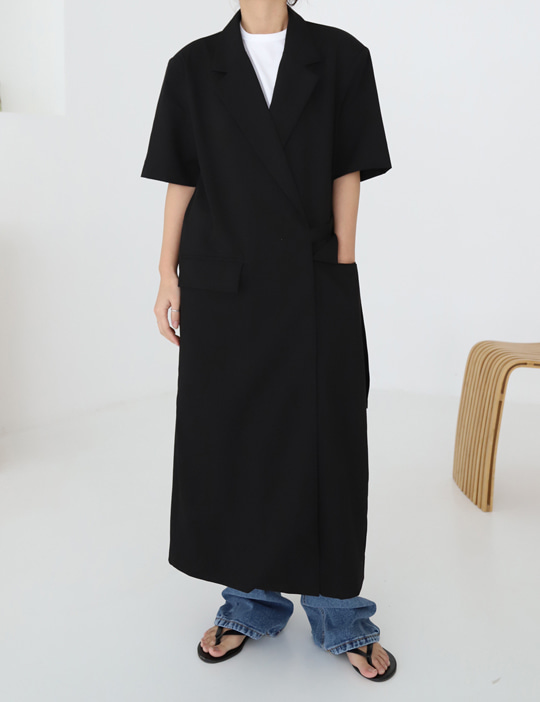 HALF-SLEEVE LONG JACKET (3COLOR)