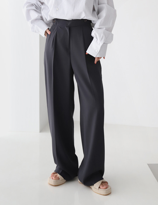 BOTH BUTTON SLACKS (2COLOR)