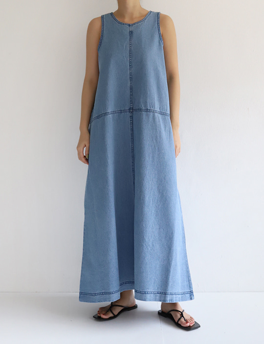 SLEEVELESS DENIM OPS (2COLOR)