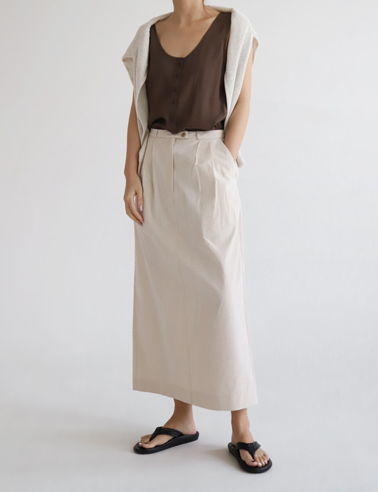 AVENUE LINEN SKIRT (3COLOR)