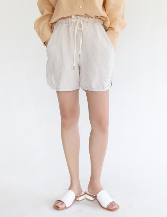 BOUNDARY LINEN BANDING SHORTS (3COLOR)
