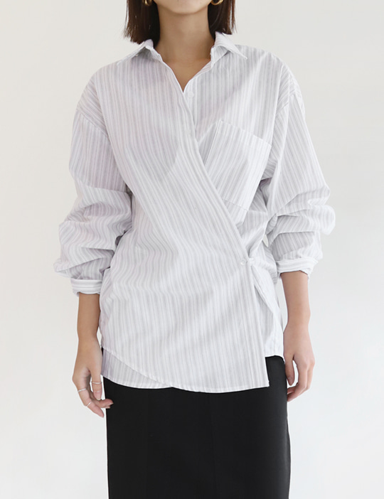 STRAP STRIPE SHIRTS (2COLOR)