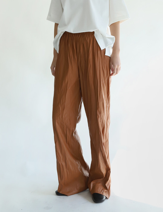 WRINKLE LEATHER PANTS (2COLOR)