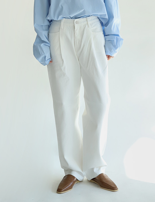 TUCK COTTON PANTS (2COLOR)