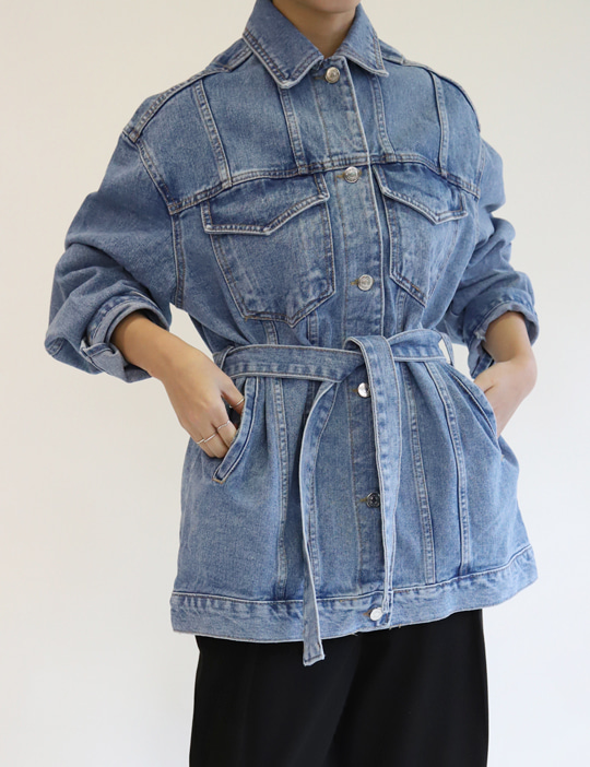 BELTED DENIM JACKET (2COLOR)