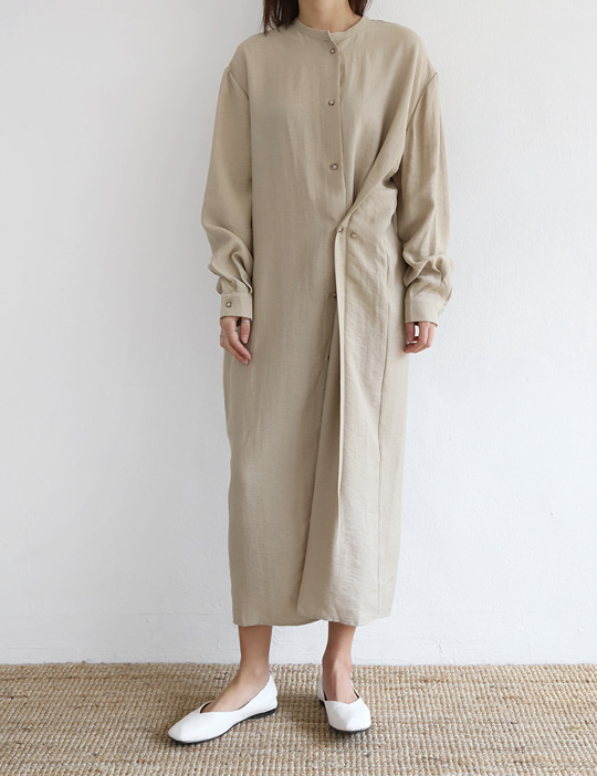LINEN UNBAL-BUTTON OPS (2COLOR)