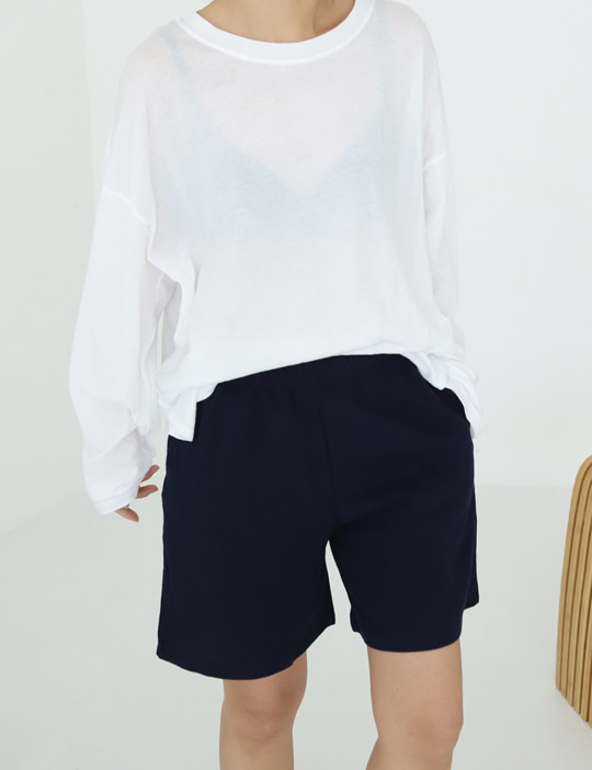 LINEN BANDING SHORT PANTS (3COLOR)