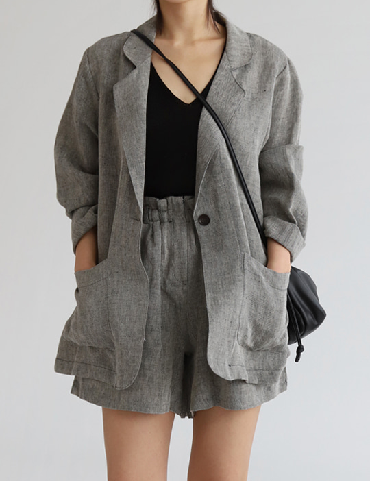 HERRINGBONE LINEN JACKET (4COLOR)