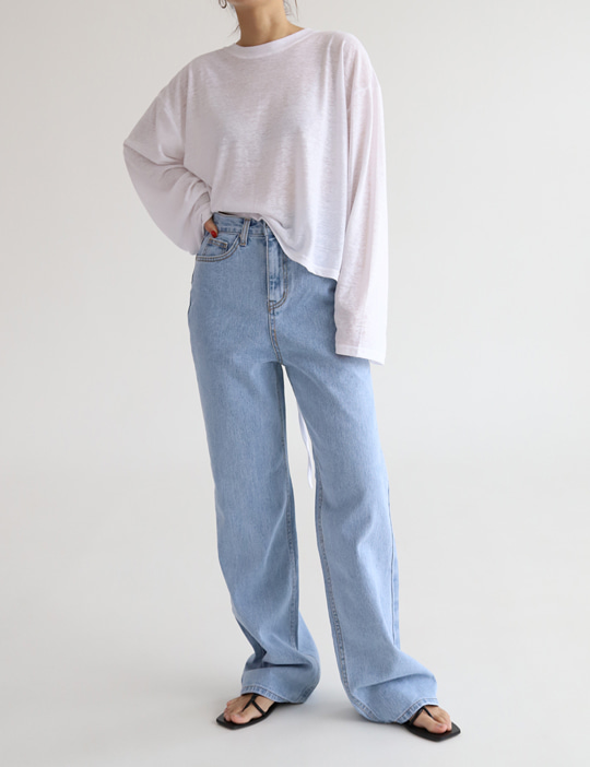 SEMI-WIDE DENIM PANTS