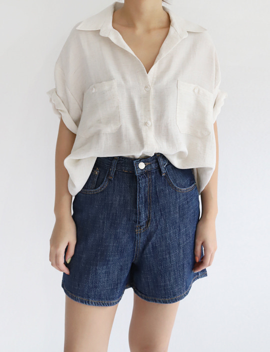 SLUB DENIM SHORT PANTS (2COLOR)