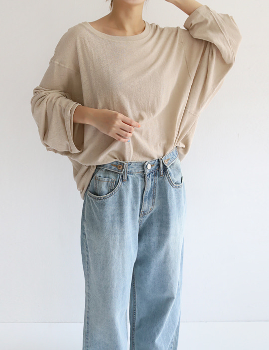PURE LINEN BOXY TEE (6COLOR)