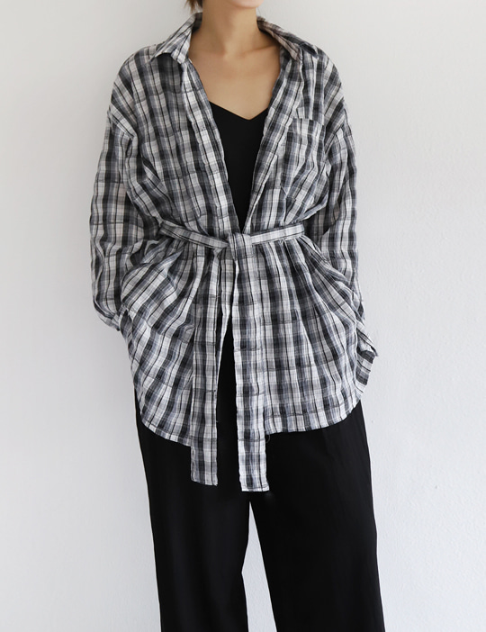 BELTED CHECK SHIRTS (3COLOR)