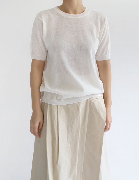 LINEN HALF-SLEEVE KNIT (4COLOR)