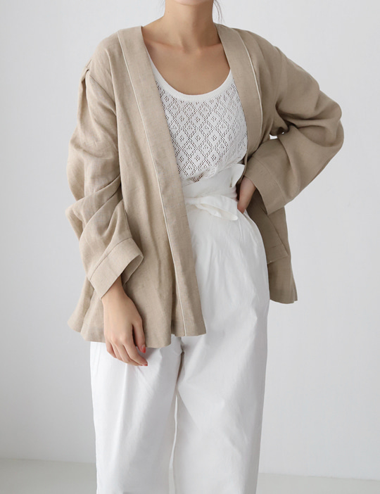 PIPING LINEN CARDIGAN (3COLOR)