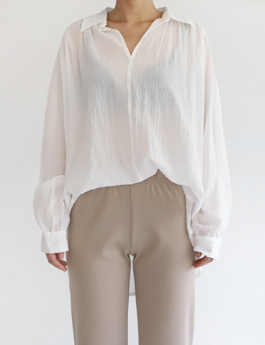 HALF-OPEN BLOUSE (2COLOR)