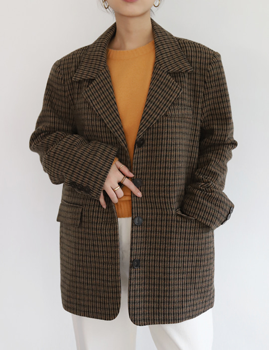 WOOLEN CHECK JACKET (2COLOR)