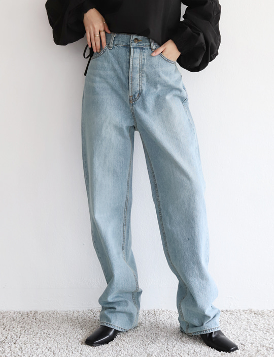 LIGHT-BLUE WIDE DENIM PANTS