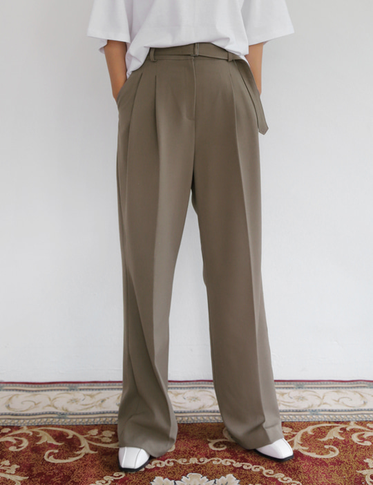 PRESS BELTED SLACKS (3COLOR)