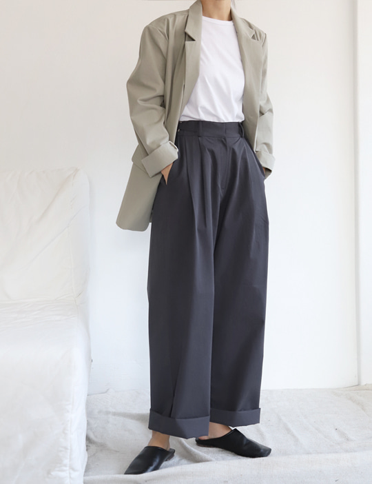BELTED COTTON PANTS (3COLOR)