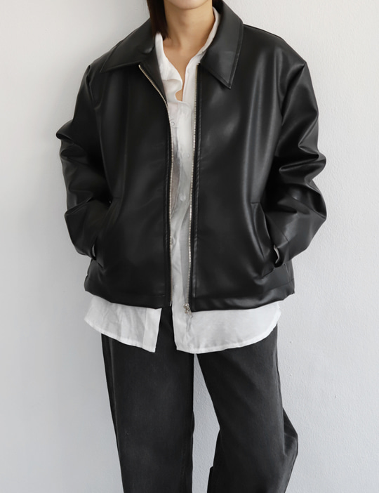 LEATHER ZIP-UP JACKET (2COLOR)