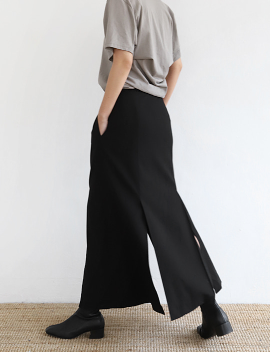 DOUBLE SLIT SKIRT (3COLOR)