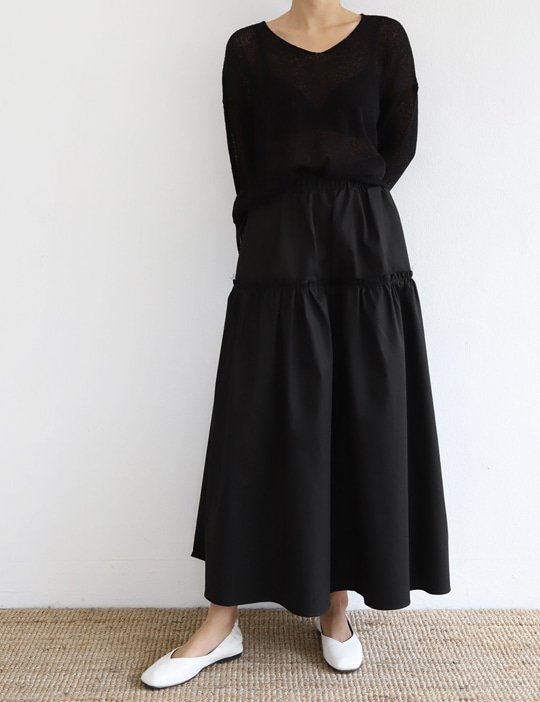 FRILL LONG SKIRT (3COLOR)