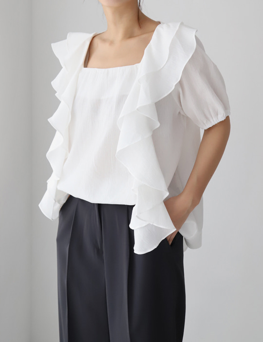 RUFFLE BLOUSE (2COLOR)
