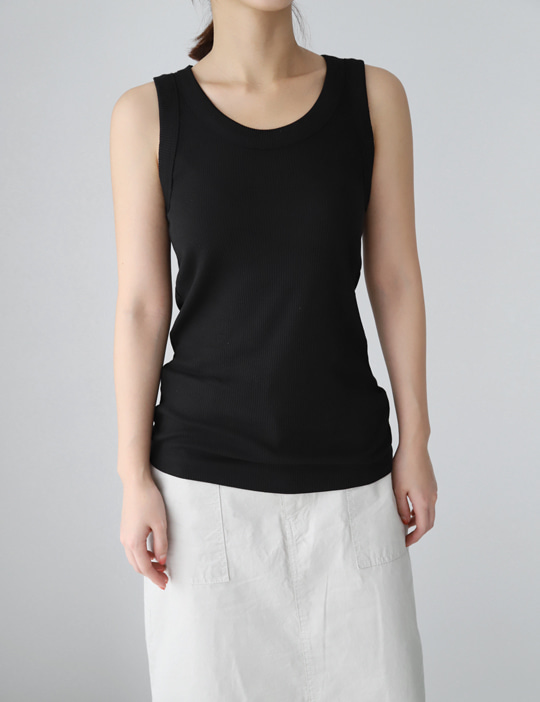 U-NECK GOLGI SLEEVELESS (4COLOR)