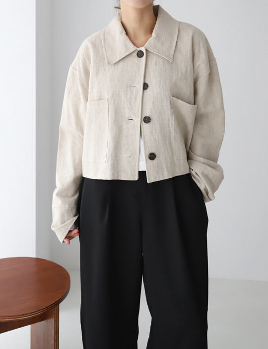 [stock sale] COMMA LINEN CROP JACKET (3COLOR)