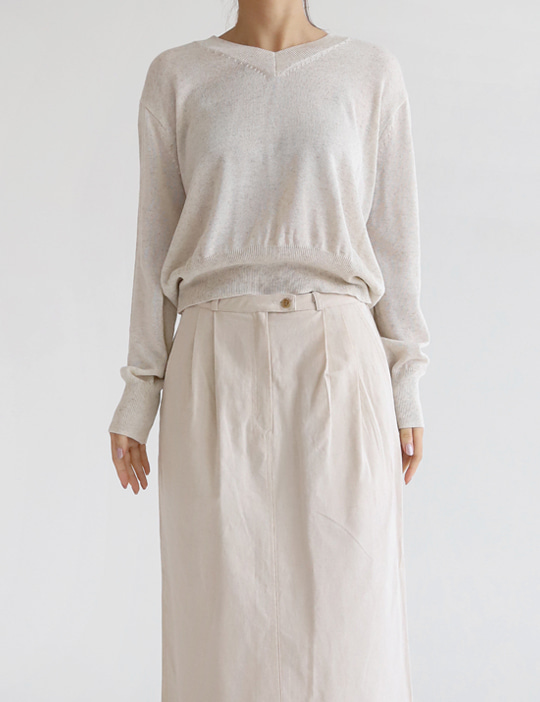 LINEN CROP V KNIT (4COLOR)
